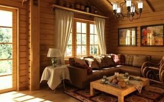 Интерьер комнаты отдыха в бане на даче